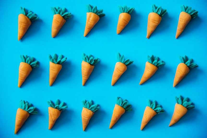 flay lay photography of carrots decor