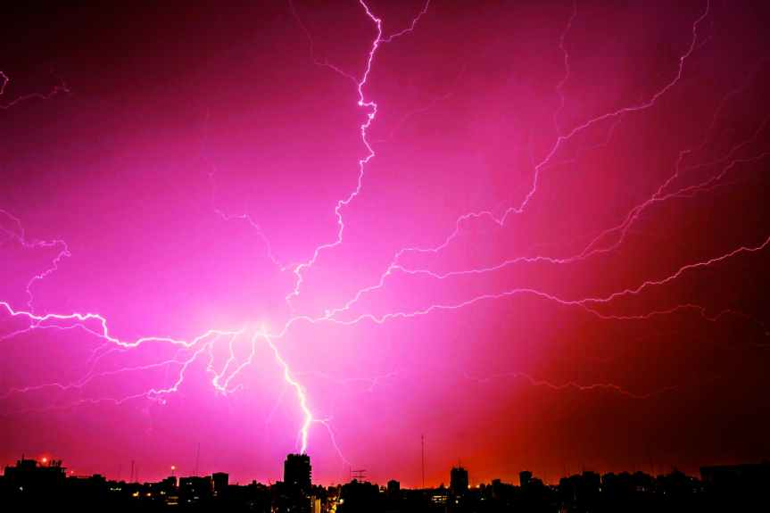 lightning during night time