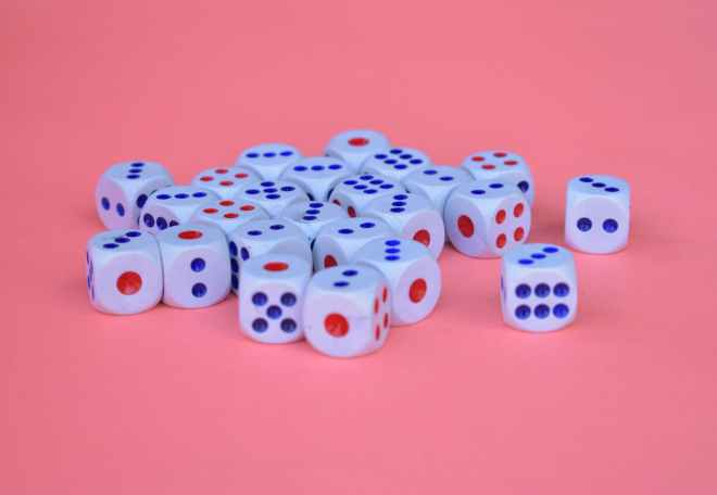 blue red and white dice