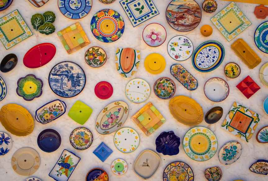 assorted color of ceramic plates